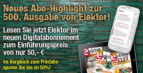 <FONT color=#d50000>GROSSE JUBILÄUMS-AKTION:<br>Elektor im neuen Digitalabo für nur 50&nb