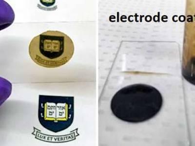 Links das neue Coating auf einem Objektträger, rechts eine mit dem Gel beschichtete Elektrode (Fotos: Yale University).