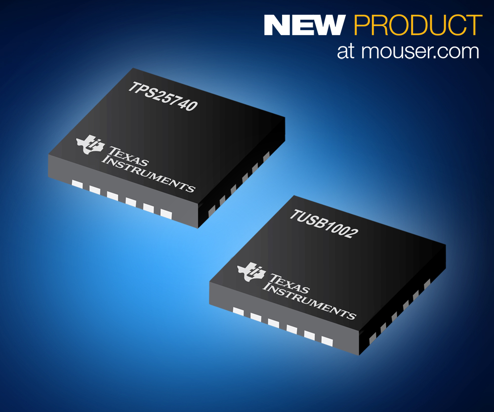 The TPS25740/TPS25740A and TUSB1002 meet many worldwide industry standards and help improve connectivity of peripherals by quickly and easily transferring data.