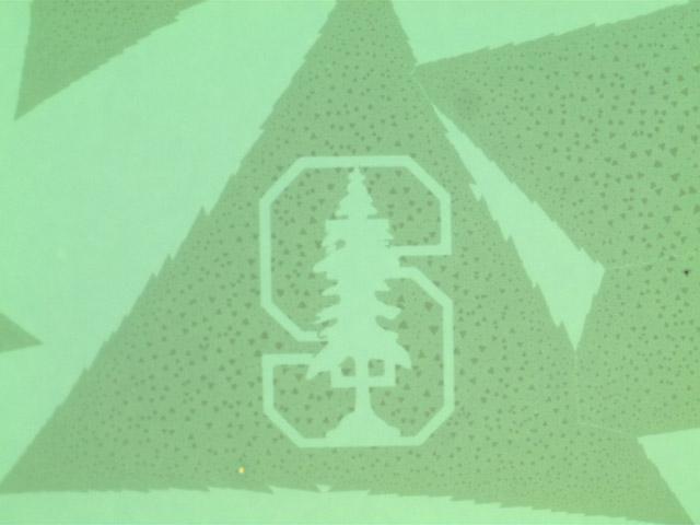 Mit Ätztechnik hergestelltes, hauchdünnes Bild des Standford-Baums im Nano-Maßstab Bild: Stanford University, Pop Lab.