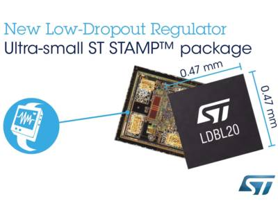 STMicroelectronics has introduced the LDBL20, a 200mA Low-Dropout (LDO) regulator in a minuscule 0.47mm x 0.47mm x 0.2mm chip-scale package.