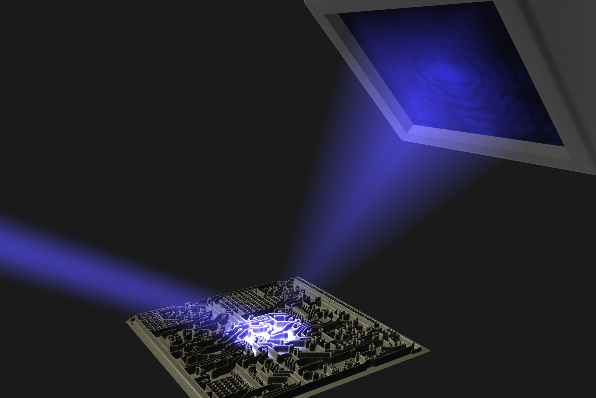 A laser beam strikes an object, and the resulting diffraction pattern is recorded with a camera. The challenge in lensless imaging is to retrieve an actual image of the object from such a pattern.