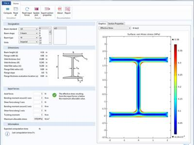 Mit dieser Simulations-App können Anwender verschiedene Träger, Materialien und Lasten testen, um die daraus resultierenden Spannungen, Dehnungen und Verschiebungen zu analysieren.