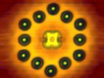 Phthalocyanin-Molekül umsäumt von zwölf Indium-Atomen auf einem InAs-Substrat. Quelle: PDI