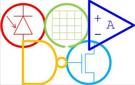 Das Electroniad-Logo ist an das Logo der Olympiade angelehnt (Finden Sie die verwendeten Bauteile heraus!)
